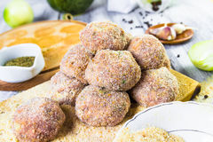 Closeup meat balls ground beef rolled breadcrumbs Royalty Free Stock Images