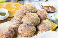 Closeup meat balls ground beef rolled breadcrumbs Royalty Free Stock Image