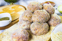 Closeup meat balls ground beef rolled breadcrumbs Stock Photos