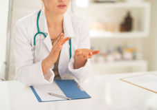 Closeup on medical doctor explaining something stock photo