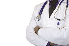 Closeup of medical doctor torso with stethoscope Royalty Free Stock Photography