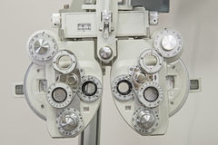 Closeup of medical equipment in an opticians clinic Stock Image