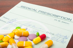 Closeup of a medical prescription with pills on top Royalty Free Stock Image
