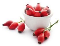 Close up of medicinal rose hips in a white bowl stock photography
