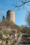 Closeup of medieval castle of Kaysersberg village - the typical Royalty Free Stock Photos