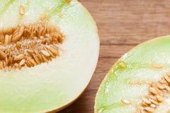 Closeup melon with pips Stock Photos