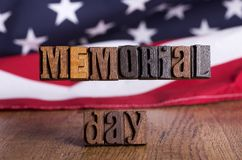 Memorial Day Wooden Banner Stock Photography