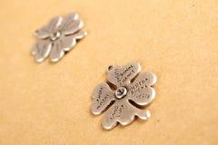 Lucky - Stock Image. Closeup metal clover. that says a lot of desires stock photos