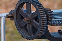 Closeup of metal cog gears Royalty Free Stock Photography