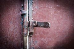 Closeup metal door with lock Royalty Free Stock Image