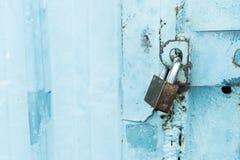 Closeup metal door with lock Royalty Free Stock Images