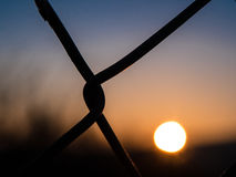 Closeup of metal fence at sunrise, background blurry Stock Images
