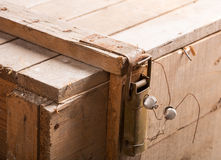 Latch with seal on wooden chest Stock Photo
