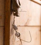 Latch with seal on wooden chest Royalty Free Stock Images