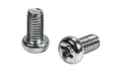 Closeup metal screw (bolt) and nuts on white background. Stock Photo