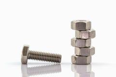 Closeup metal screw and nuts . Stock Photos