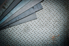 Closeup of metal sheet and metal diamond plate Royalty Free Stock Photo