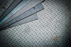 Closeup of metal sheet and metal diamond plate Royalty Free Stock Photo