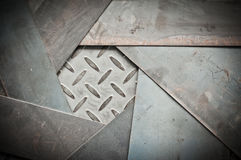 Closeup of metal sheet and metal diamond plate Stock Photography