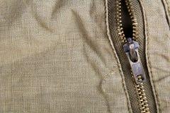 Closeup of a metal zipper Stock Photo