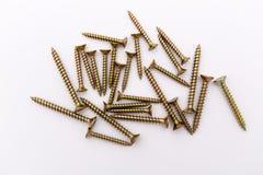 Closeup of the metalic screws Royalty Free Stock Image
