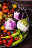 Closeup of  metallic basket with fresh vegetables Stock Images