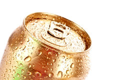 Closeup of metallic beer with water drops isolated Stock Images