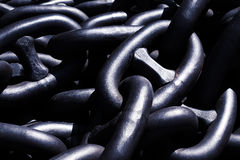 Closeup of metallic and heavy chains Stock Photos