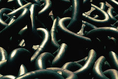 Closeup of metallic and heavy chains Royalty Free Stock Photo