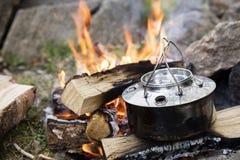 Closeup Of Metallic Pot On Bonfire Royalty Free Stock Photography
