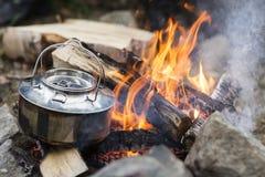 Closeup Of Metallic Pot On Bonfire Stock Photos