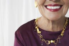 Closeup Midsection Of Smiling Senior Woman Stock Photos