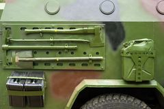 Closeup military armored vehicle with attached tool. Closeup military armored vehicle with attached tool royalty free stock image