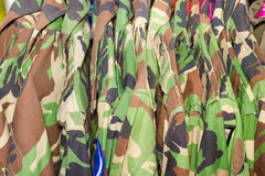 Closeup military shirt on hanger in shop Royalty Free Stock Photos