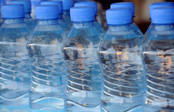 Closeup Mineral Water Bottles Stock Image