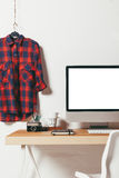 Closeup of minimal office on white background. Stock Images