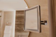 Closeup mirror in bathroom interior royalty free stock photography