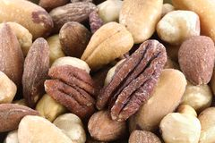 Closeup Mix of Roasted and Salted Nuts Stock Image