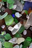 Closeup of Mixed Colored Sea Glass Royalty Free Stock Photography