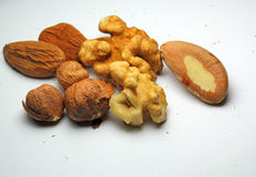 Closeup of mixed fresh nuts. Stock Photography