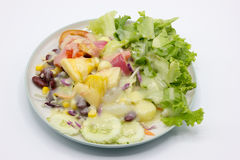 Closeup mixed of fresh salad and fruit. Royalty Free Stock Photo