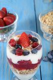 Closeup of mixed fruit parfait Royalty Free Stock Photos