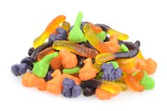 Closeup mixed pile of gummy halloween candy. On white background Royalty Free Stock Image