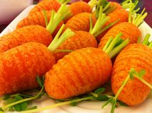 Closeup of `mixed puff with pork` dim sum in carrot shape stock photo
