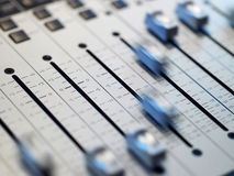 Closeup Of Mixing Board Royalty Free Stock Photos