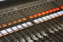 Closeup of mixing console Stock Image