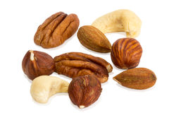 Closeup of mixture of different peanuts Stock Images