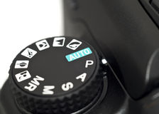 Closeup of mode wheel on Dslr camera Royalty Free Stock Images