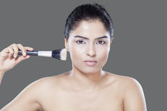 Closeup model with brushes Royalty Free Stock Photos