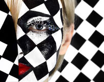 Closeup of model with a chess board Stock Image